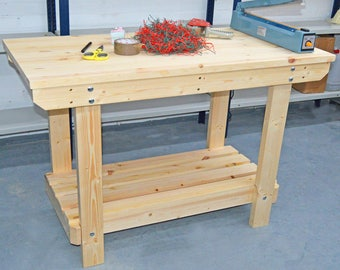 4FT Wooden Workbench    Handmade   VERY STRONG & STURDY   Next Day Delivery   Top Quality!