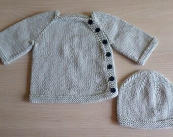 newborn knit bonnet and baby Cardigan set