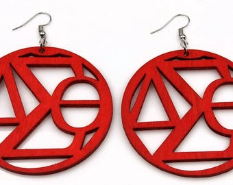 Delta Sigma Theta Earrings Inspired  Wood Red Natural Earrings  Sorority Gift  Pledged University College Graduation Gift FREE SHIPPING