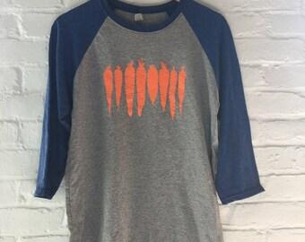Carrot Shirt, Raglan Shirt, Food Shirt, Screen Printed T Shirt