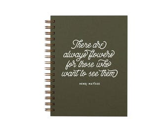 Always Flowers Journal - Notebook | Lined Pages | Spiral Bound | Letterpress | Hard Cover
