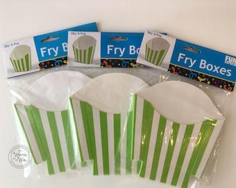 Easter Treat Boxes / Green  Stripe Fry Boxes / Birthday Party favors / Party Treats / Treat Box / Candy Box / Holiday Treats