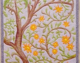 Small Wall Quilt Folk Birds Textile Art Flower Quilt Floral