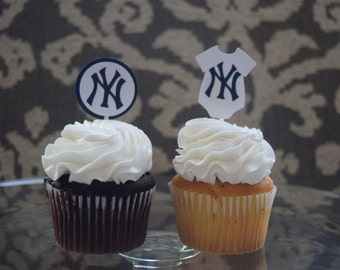 Yankees Cupcake Topper, MLB Cupcake Topper, MLB Baby Shower, NY Yankees Baby Shower, New York Yankees Decoration, New York Yankees Party