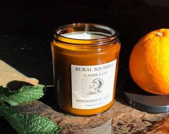 Springhouse Mint (Speatmint & Orange) Soy Candle Amber Jar 8OZ