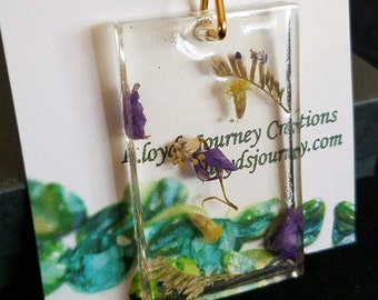 Rectangle Pendant with Real Flowers