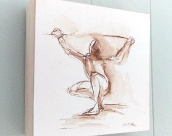 Male Nude Figure Drawing, Crouching Male, Earthtone Original Art Shelf Decor, 6x6 Square Art, Sepia Toned Wall Art, Pen and Ink Line Drawing