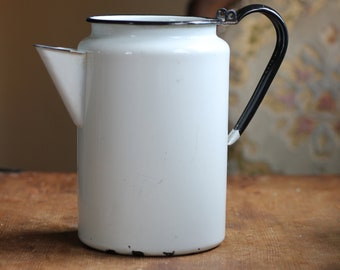 Vintage White Enamelware Pitcher with Black Trim Country Kitchen Decor