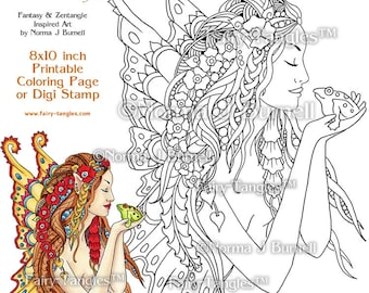 The Kiss - Fairy Tangles Printable Coloring Book Pages & Sheets for Digital Coloring by Norma J Burnell Fairies to color Adult Coloring