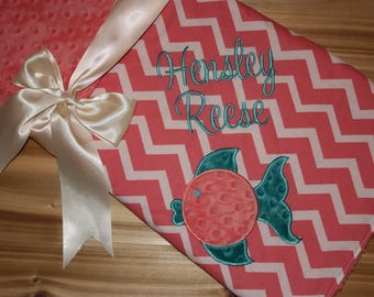 Personalized Girlie Fish Minky Baby Blanket - Coral Chevron with Coral Minky