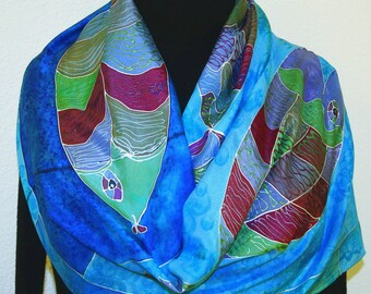 Blue Silk Scarf. Hand Painted Scarf with Fish. Handmade Silk Shawl OCEAN BEAUTIES. Large 14x72. Birthday, Bridesmaid Gift. Gift-Wrapped