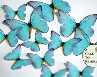 Teal edible butterflies, 12 wafer paper butterflies for wedding cake toppers. Butterflies for cake decorating and cupcake decorating.
