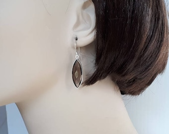 Smoky quartz earrings, long, faceted, marquise shape, set in sterling silver,  free shipping