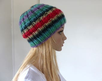 Colorful Knit Hat Red beanie Slouch hat Green Womens winter hat