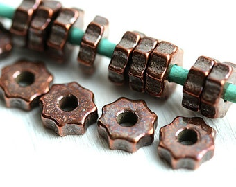 15pc Copper wheel beads, rondelles, Greek Ceramic beads, Metalized rondels, spacers, for leather cord, washer, 8mm - 2393