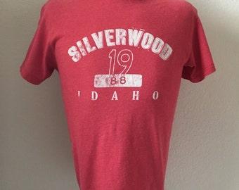 Vintage Men's 80's T Shirt, Red, White, Short Sleeve (M)