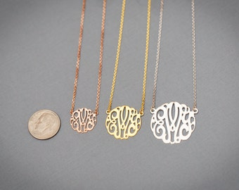 Ciel creation personalized custom monogram jewelry by cielcreation small gold plated yellow white rose gold classic monogram necklace 06 mozeypictures Choice Image