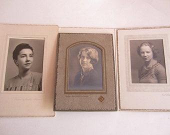 Antique Photographs of Women Set of Three, Set of Three Vintage Photos of Women of various ages, Vintage photos, Antique photos
