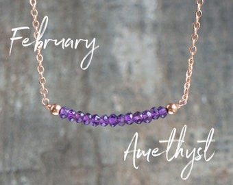 Amethyst Necklace, Gemstone Necklace, Bar Necklace, Birthday Gift for Her, Delicate Necklace, Amethyst Jewelry, February Birthstone, Boho