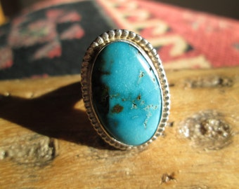 Vintage Turquoise and Sterling  Ring Size 6.25