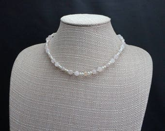 Rose Quartz, Freshwater Pearl and Silver Necklace