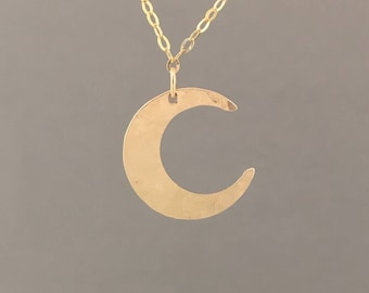 FLAT Hammered Crescent Moon Gold Necklace also in Silver