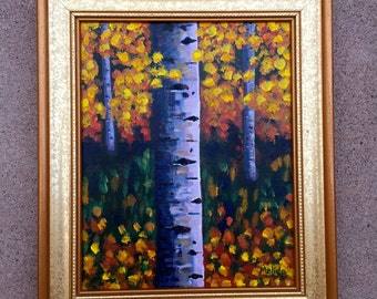 Autumn Aspens, Tree Painting, Original Acrylic Painting, Birch Tree Painting, Aspens Art, Gift Idea, Frame included, FREE Shipping