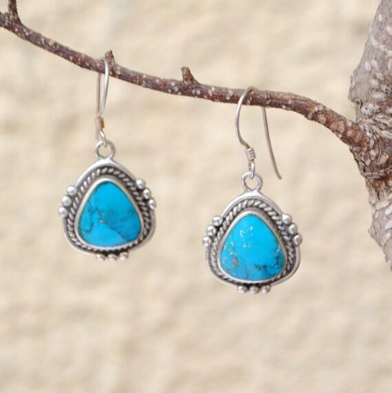 Boucles d'oreilles en turquoise et argent