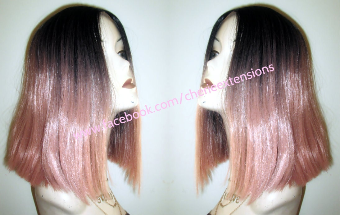 High Heat Synthetic Human Feel Ombre Lace Front Lacefront Bob