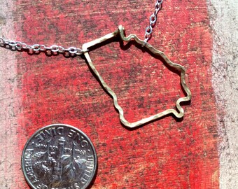 Georgia state necklace, Hammered in Gold and Sterling Silver wire Georgia outline state necklace,