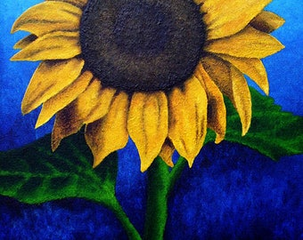 Face the Sun - Sunflower 5x7 Inch Folded Greeting Cards of Acrylic Painting Fine Art