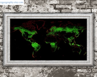Global forest cover map (high resolution digital print) map print, wall art, poster map, home decor, wall decor, printable, gift, travel