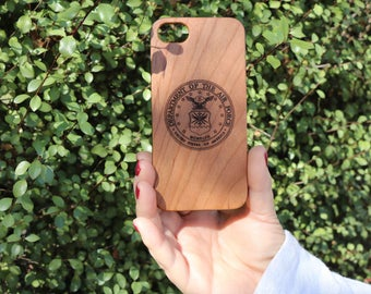 Laser Etched The United States Air Force Seal Tribute Cherry Wood iPhone Case or Galaxy Phone Case With Flexible TPU Sides