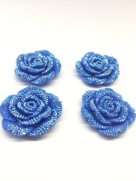 2pcs Light Blue AB 42mm Large Flat Back Chunky Resin Rhinestone Rose Flower Embellishments C1