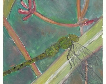 Green Dragonfly on Leaf -painting