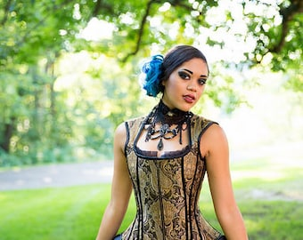 """Steampunk Corset Vest - Pirate Renaissance Bridal Wedding - Gold Black Paisley - """"Leslie Corset Vest"""" - Custom to your size Petite to Plus"""