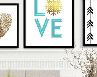 Turquoise Gold Snowflake Home Decor, Aquamarine Blue Christmas Home Decor, Dark Mint Love Home Decor, Snowflake Art, Snow Flake Printable