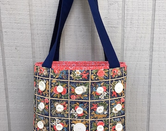 Purse Tote Bag made from Vintage Fabric and Vintage Buttons