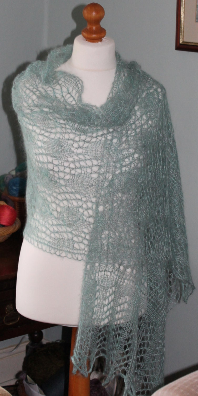 Selkie Wrap in Hand Painted Silk and Kid Mohair, lace knitted in a ...