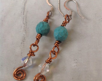 Turquoise Copper Wire Wrapped Dangle Crystal Earrings