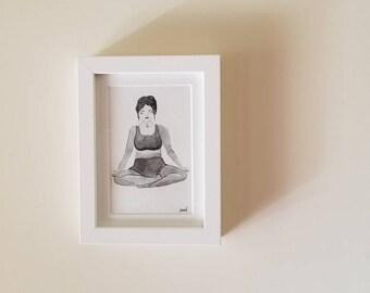 Meditation girl, women, yogi, yoga meditation, watercolor art