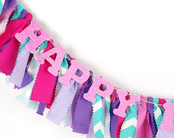 Pink, Purple and Aqua Birthday Party - Doc McStuffins Girl's First Birthday - Garland - Bunting - Photoshoot Prop