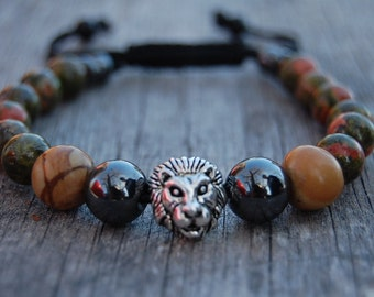 Lion Bracelet,Unakite Stone Bracelet,Hematite Beads,Shamballa Bracelet,Mens Bracelet,Lion head,Gift for Him,Bracelet for Men,Lion Bracelet