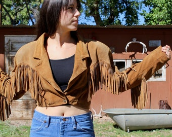 vintage suede fringe jacket // Fringe Western Leather Jacket // fringe cropped jacket