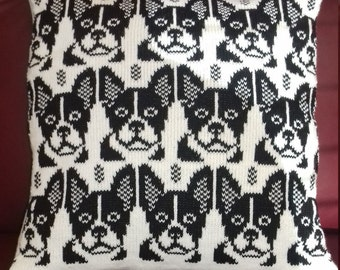 Handmade knitted French Bulldog Cushion cover complete with infill