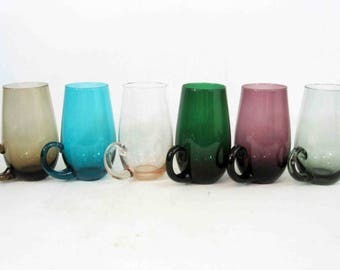 Vintage Set of 6 Multi Colored Glasses with Applied Handles. Circa 1950's - 1960's.