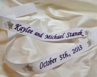 Custom Embroidered Wedding Gown Ribbon - White Gross Grain Ribbon with Purple and Metallic Silver Thread