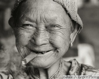 Travel Photography, Smile, Joy, Funny, Thailand, Smoking, Cigar Lady, Hill Tribe Elder, Ethnic,  Black and White Fine Art Photography, 16x20