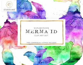 Mermaid Clipart, Watercolour Mermaid, Mermaid Artwork, Rainbow Mermaid, Watercolour Clipart, Personal Use Clipart, Commercial Use Clipart,