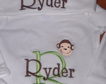 Personalized Monkey Infant Gown and Cap set, Monogrammed Newborn Gown and Hat Set, Custom Colors Embroidered Baby gown